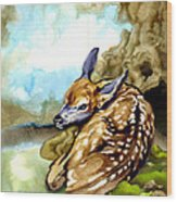 Fawn Parked In The Trees Wood Print
