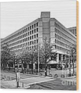 Fbi Building Front View Wood Print by Olivier Le Queinec