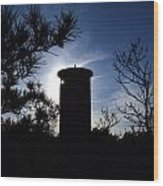 Fct1 Fire Control Tower 1 In Silhouette Wood Print