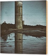 Fct3 Fire Control Tower Reflections In Sepia Wood Print