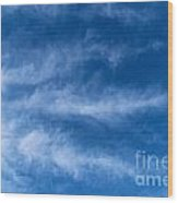 Feather Clouds On Blue Sky Wood Print