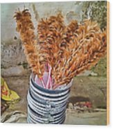 Feather Duster Bouquet Wood Print