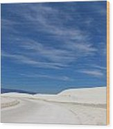 Feathery Clouds Over White Sands Wood Print