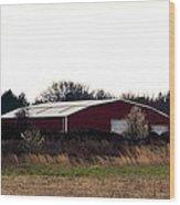 February's Red Barn Wood Print
