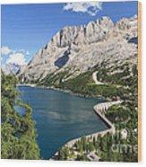 Fedaia Pass With Lake Wood Print