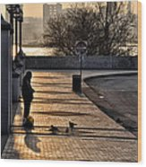 Feeding The Birds At Dawn Wood Print