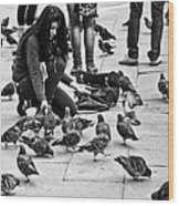 Feeding The Pigeons Wood Print