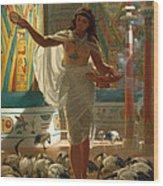 Feeding The Sacred Ibis In The Halls Of Karnac Wood Print