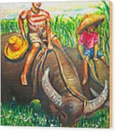 Feeding Water Buffalo Wood Print