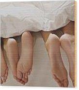 Feet In Bed Wood Print