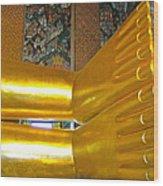 Feet Of Reclining Buddha In Wat Po In Bangkok-thailand Wood Print
