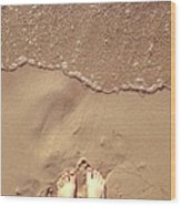Feet on the Beach Wood Print