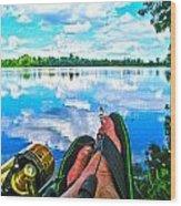 Feet Up Fishing Crab Orchard Lake Wood Print