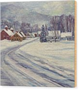 Felchville Village In The Snow Wood Print