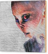 Female Alien Portrait Wood Print