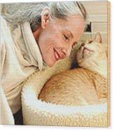 Female And Cat Wood Print