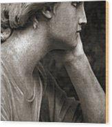 Female Angel Face Closeup - Female Angelic Face Portrait Wood Print