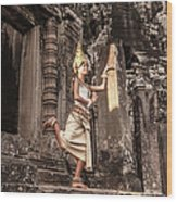 Female Apsara Dancer, Standing On One Wood Print