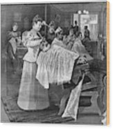 Female Barber-shop, 1895 Wood Print