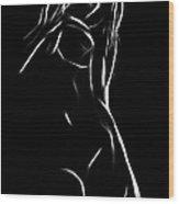 Female Black Wood Print