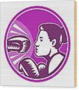 Female Boxer Punch Retro Wood Print