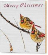 Female Cardinals Card Wood Print