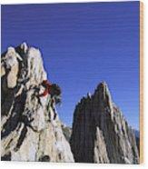 Female Climber Reaching The Top Wood Print