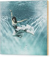 Female Dancer Under Water Wood Print