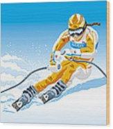 Female Downhill Skier Winter Sport Wood Print by Frank Ramspott