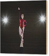 Female Gymnast On Balancing Beam Wood Print