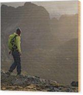 Female Hiker On Summit Of Tverrfjellet Wood Print