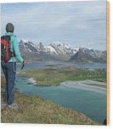 Female Hiker With Over Yttersand Beach Wood Print