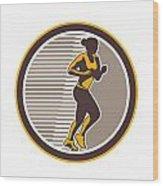 Female Marathon Runner Side View Retro Wood Print by Aloysius Patrimonio
