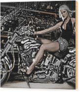 Female Model With A Motorcycle Wood Print
