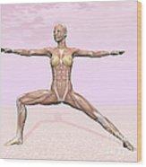 Female Musculature Performing Warrior Wood Print