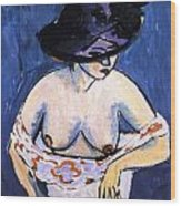 Female Nude With Hat Wood Print