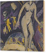 Female Nude With Hot Tub Wood Print by Ernst Ludwig Kirchner