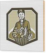 Female Organic Farmer Crop Harvest Woodcut Wood Print