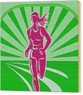 Female Run Marathon Retro Poster Wood Print