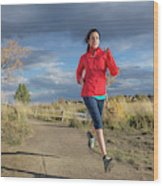 Female Runner In Colorado Wood Print