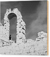 Female Tourist Walks Up The Stepped Seating Area Towards Ruined Archways Of The Old Roman Colloseum At El Jem Tunisia Wood Print