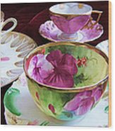 Feminine High Society Ladies Tea Party Wood Print