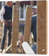 Fence And Cowboy 17525 Wood Print