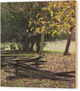 Fence And Tree In Autumn Wood Print