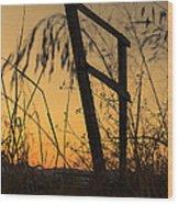 Fence At Sunset I Wood Print