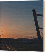 Fence At Sunset II Wood Print