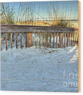 Fence At The Beach In St Augustine Florida Wood Print