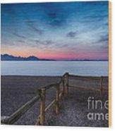 Fence By The Salt Flats Wood Print