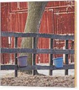 Fence Full Of Buckets Wood Print