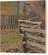 Fence In Autumn Wood Print